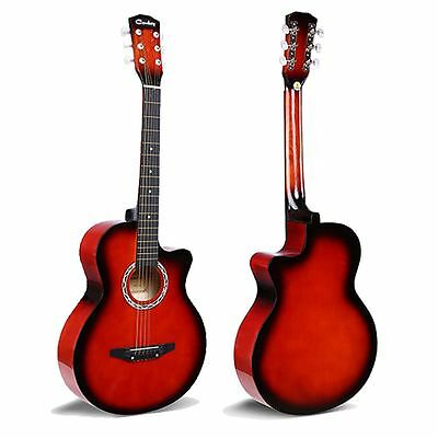 "1x RED Acoustic Classic Guitar 3/4 Size 38"" Beginner Student Adult UK"