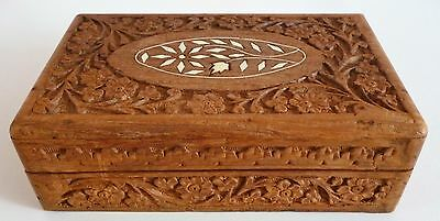 "Carved Inlaid Hinged Wooden Trinket Box 8""l  X 5""d"