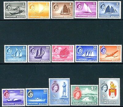 SINGAPORE-1955-59 Set of 15 Values Sg 38-52  MOUNTED MINT V16956