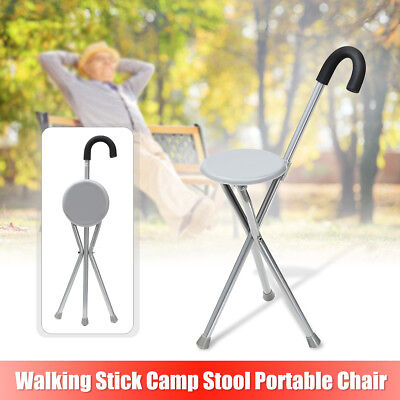 Portable Folding Travel Cane Walking Stick With Seat Camp Stool Chair