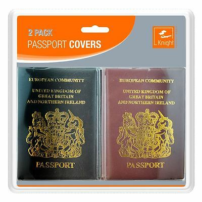 2 Pack UK And European Passport Cover Protector Holder Safe PU Leather Wallet