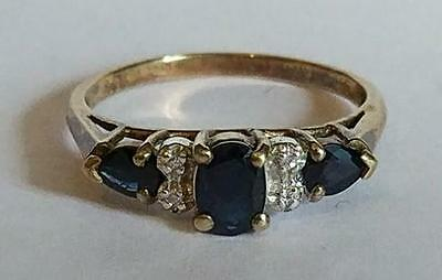 Vintage Absolutely Stunning Genuine Sapphire And Crystal Sterling Silver Ring