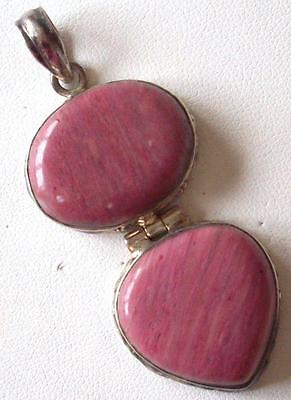 Vintage 1950S Beautiful Hinged Double Drop Pink Agate Large Silver Drop Pendant