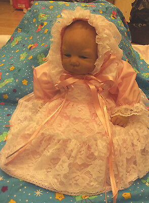 """Dream Baby 0-3 Months Pink Lacy Apron Netted Dress Pants Hat Or  20-24"""" Reborn"""
