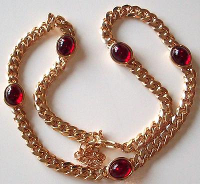 Vintage Beautiful Cabochon Garnet Red Crystal Glass Stones Choker Necklace