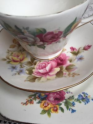 Mix Duchess Pink Roses Trio Cup Saucer Plate
