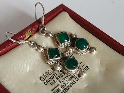 Antique Vintage Beautiful Pair Of Green Agate Sterling Silver Drop Earrings