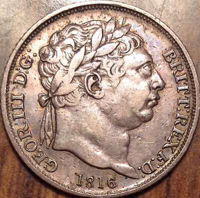 1816 Uk Gb Great Britain Silver Sixpence In Great Condition !