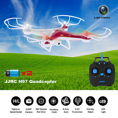 JJRC H97 RC Quadcopter Drone 2.4Ghz 6-Axis LED Helicopter w/ Camera 2Battery Red