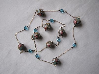 Vintage Long Venetian Wedding Cake Beads Glass Necklace Blue Pink Chain Linked