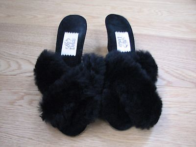 Vintage Black Fluffy Mules Slippers Sheepskin Wedge Heels Dolcis Size 4