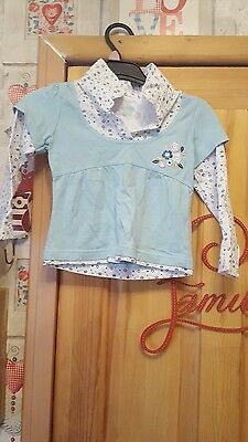 girls blue flowered collar top size 2/3 years