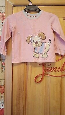 girls next pink dog long sleeved top size 2/3 years