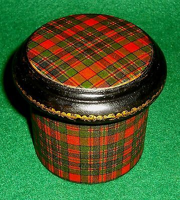 MAUCHLINE TARTAN WARE McFARLANE CLAN LIDDED POWDER POT