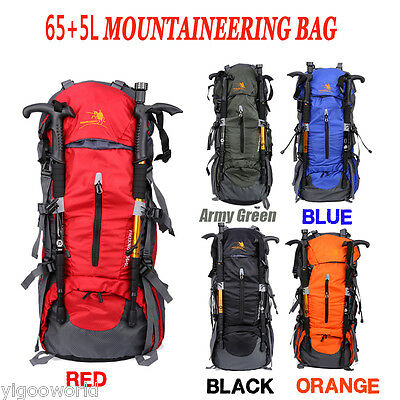 65+5L Waterproof Camping Hiking Backpack Outdoor Mountaineering Rucksack Bag UK