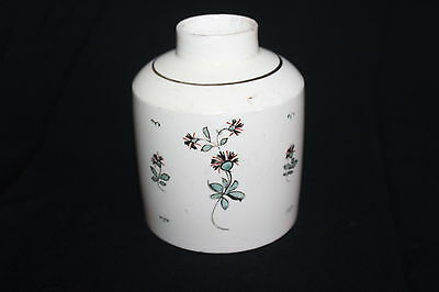 ANTIQUE 18th / EARLY 19th C ENGLISH POTTERY TEA CADDY  SPARCE FLORAL DECORATION