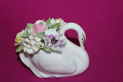 Royal Doulton Swan Figure With China Flowers