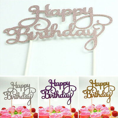 1/2x Shining Happy Birthday Party Supplies Decoration Cake Topper Paper Decor