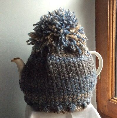 Hand-knitted Tea Cosy in Blue and Grey