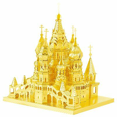 UK 3D Metal Model Puzzles For Adult Diy Kids Toys Gift St Basil's Cathedral Gold