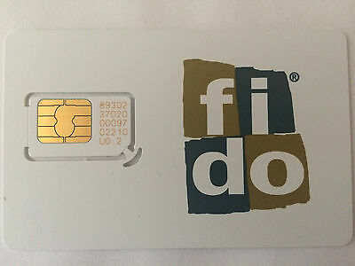 FIDO Prepaid Regular Standard SIM Card Travel Canada IPhone Android Blackberry