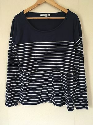 JOJO MAMAN BEBE Stripe Blue Nursing Maternity Top Long Sleeve Size L