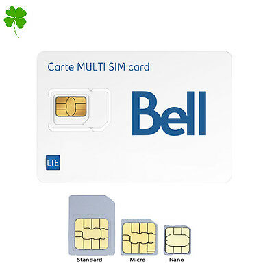 New Bell Mobility LTE Multi SIM Card - Nano / Micro / Regular Size Canada Travel