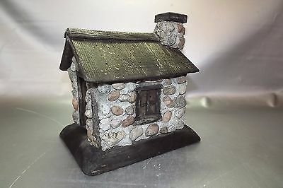 vintage,handmade stone wall and cedar roof birdhouse,bird house,piece of art,