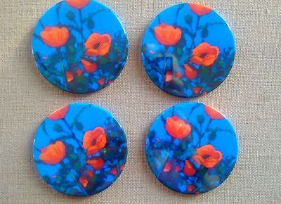 "POPPIES Coasters, Set of Four, Created From Original Art, OOAK, 3.5"" Coasters"