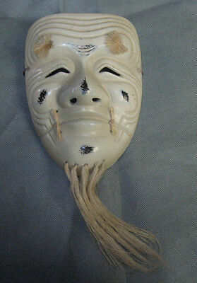 Real Japanese Noh Mask Okina Old Man Smile Long Beard made in Showa Era
