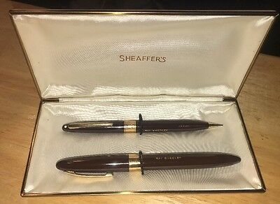 Vintage Sheaffer'S Fountain Pen and Pencil Set 14k Gold Nib with Case USA