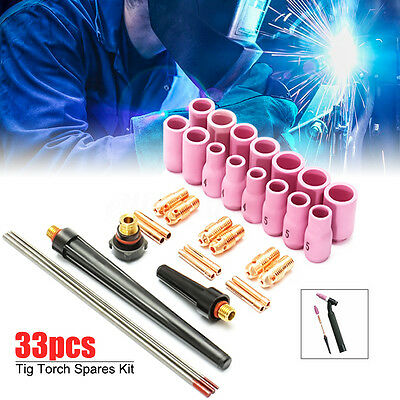 33Pcs Tig Welding Torch Accessories Spares Nozzle Part Kit For WP9 1.6/2.4/3.2mm