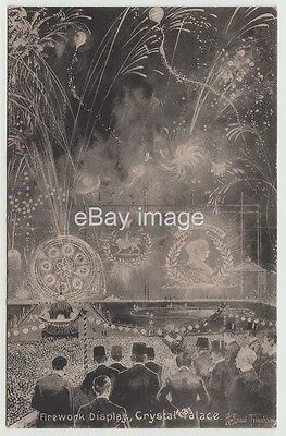Crystal Palace - firework display 1908 (Holland Tringam) artist postcard London