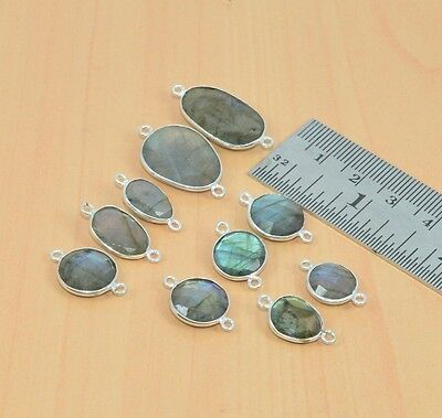Wholesale Lot 10Pc 925 Silver Plated Faceted Natural Labradorite Connector Part