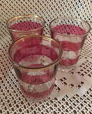Vintage Shot Glasses In Clear Glass With Pretty Pink Trim