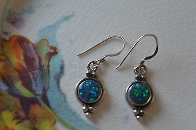 Gorgeous Opal And 925 Silver Drop Earrings