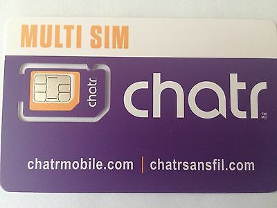 New Chatr LTE Multi SIM Card - Nano / Micro / Regular Size Canada Travel