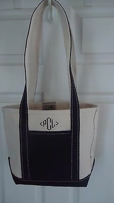 """LL Bean Boat and Tote Canvas Tote Bag ABOUT 10"""" X 11"""" WHITE & BLACK"""