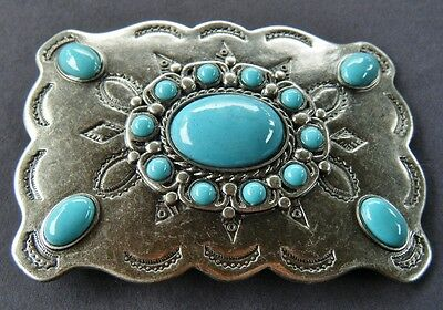 Square Flower Blue Stones Western Rodeo Belt Buckle Boucle De Ceinture