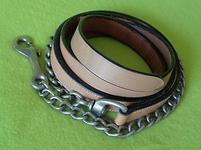 Nice QUALITY Ultra-Lite Color Leather Horse Show Halter LEAD Shank w/ Chain~NR