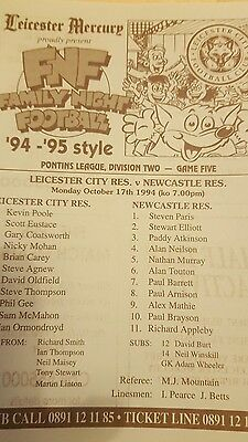 Leicester City v Newcastle United 94/95