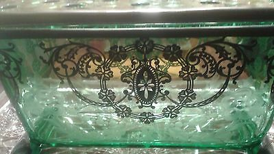 Antique Sterling Silver Overlay Etched Glass Flower Frog