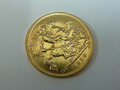 1910 King Edward VII Half 1/2 sovereign 22ct gold coin