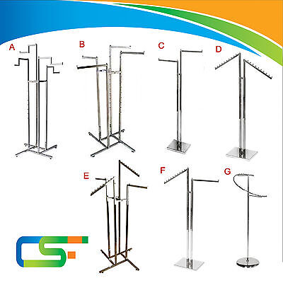 Heavy Duty Chrome Retail Clothing /Garment Display Stands For Shops