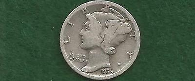 Older circulated 1935-S Mercury Silver  Dime