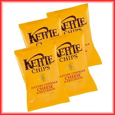 4x KETTLE CHIPS MATURE CHEDDAR CHEESE & RED  ONION á 150g = 600g  MHD:26.08.17