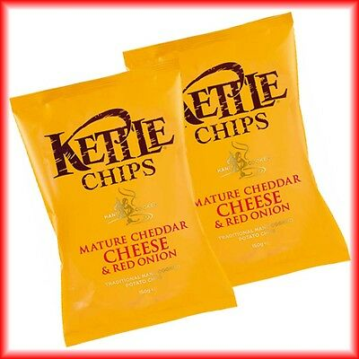 2x KETTLE CHIPS MATURE CHEDDAR CHEESE & RED  ONION á 150g = 300g  MHD:26.08.17