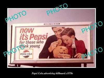 OLD LARGE HISTORIC PHOTO OF PEPSI COLA DRINK ADVERTISING BILLBOARD c1970s 1