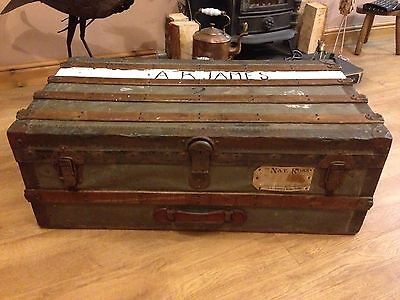 Antique Brass Tin and Wooden Banded Steamer Travel Trunk Storage Chest