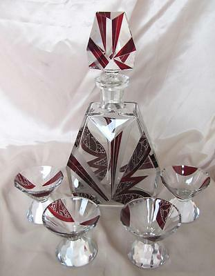 Antique Art Deco Crystal Glass Alcohol Liqueur Set Of Four Cups & Decanter